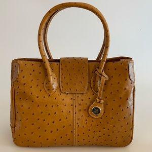 Dooney & Bourke Brown Ostrich Leather Handbag